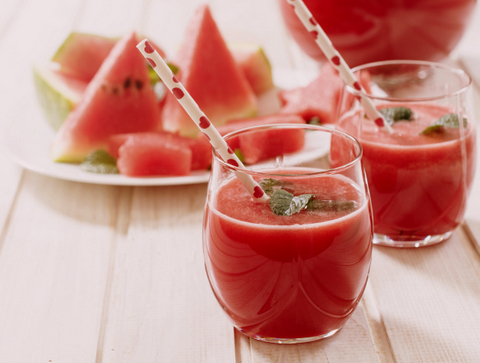 Fresh watermelon juice in the glass.Selective focus on the front glass